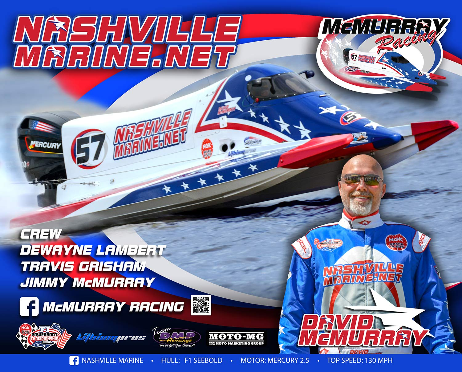 Nashville Marine - Dave-McMurray F1 Boat Racing -Signature-Card-2019